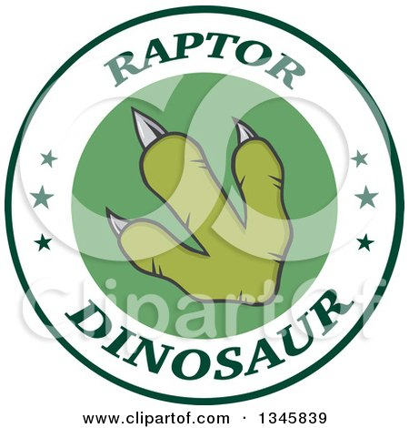 Clipart of a Green Raptor Dinosaur Foot Print on a Label with Stars and Text - Royalty Free Vector Illustration by Hit Toon