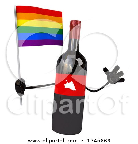 Clipart of a 3d Wine Bottle Mascot Holding a Rainbow Flag and Jumping - Royalty Free Illustration by Julos