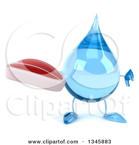 Clipart of a 3d Water Drop Character Holding a Beef Steak and Thumb down - Royalty Free Illustration by Julos
