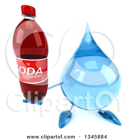 Clipart of a 3d Water Drop Character Holding up a Soda Bottle - Royalty Free Illustration by Julos