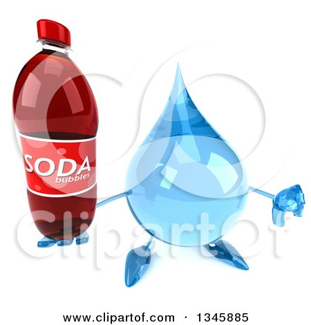 Clipart of a 3d Water Drop Character Holding up a Thumb down and a Soda Bottle - Royalty Free Illustration by Julos
