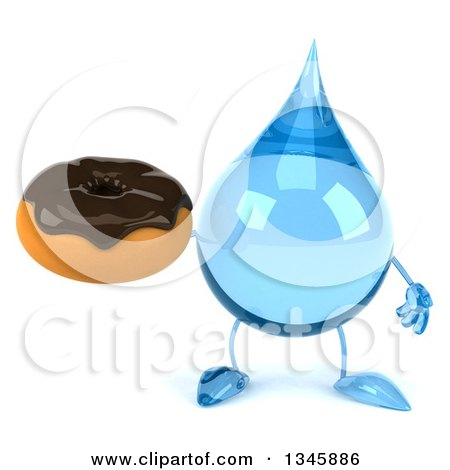 Clipart of a 3d Water Drop Character Holding a Chocolate Glazed Donut - Royalty Free Illustration by Julos