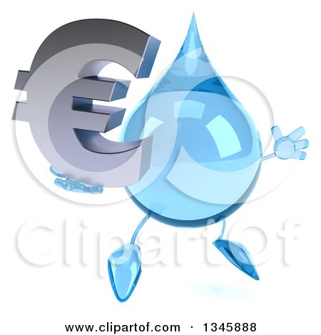 Clipart of a 3d Water Drop Character Holding a Euro Currency Symbol and Jumping - Royalty Free Illustration by Julos