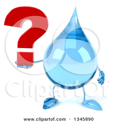 Clipart of a 3d Water Drop Character Holding a Question Mark - Royalty Free Illustration by Julos
