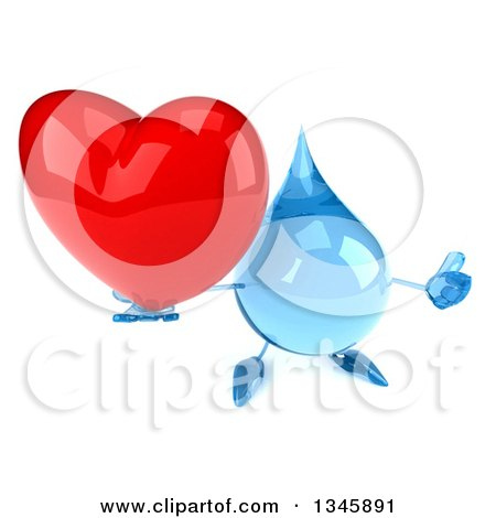 Clipart of a 3d Water Drop Character Holding up a Thumb and Heart - Royalty Free Illustration by Julos