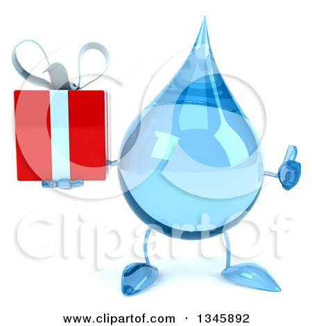 Clipart of a 3d Water Drop Character Holding a Gift and Giving a Thumb up - Royalty Free Illustration by Julos