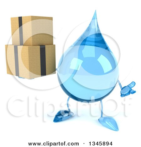 Clipart of a 3d Water Drop Character Holding Boxes and Shrugging - Royalty Free Illustration by Julos