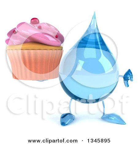 Clipart of a 3d Water Drop Character Holding a Pink Frosted Cupcake and Giving a Thumb down - Royalty Free Illustration by Julos