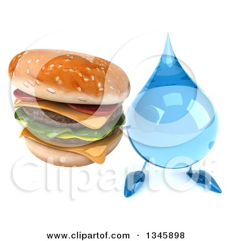 Clipart of a 3d Water Drop Character Holding up a Double Cheeseburger - Royalty Free Illustration by Julos