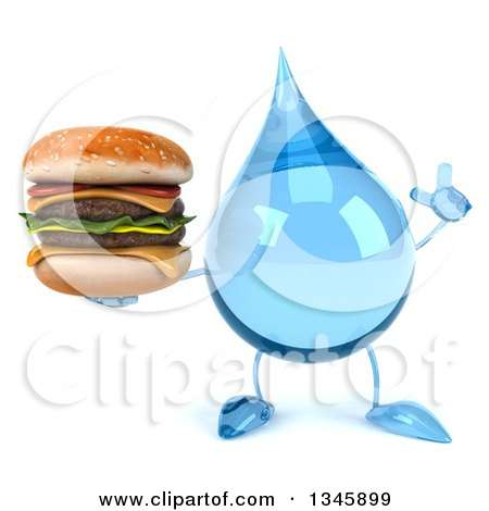 Clipart of a 3d Water Drop Character Holding up a Finger and a Double Cheeseburger - Royalty Free Illustration by Julos