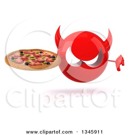 Clipart of a 3d Red Devil Head Holding a Pizza and Giving a Thumb down - Royalty Free Illustration by Julos