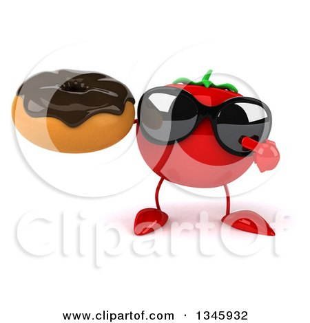 Clipart of a 3d Tomato Character Wearing Sunglasses, Holding and Pointing to a Chocolate Glazed Donut - Royalty Free Illustration by Julos