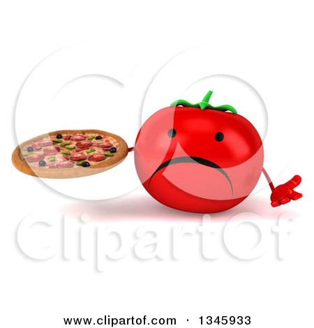 Clipart of a 3d Unhappy Tomato Character Holding a Pizza and Shrugging - Royalty Free Illustration by Julos