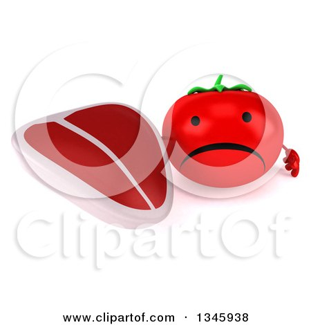 Clipart of a 3d Unhappy Tomato Character Holding up a Beef Steak - Royalty Free Illustration by Julos