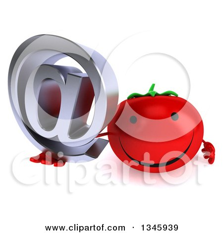 Clipart of a 3d Happy Tomato Character Holding up an Email Arobase at Symbol - Royalty Free Illustration by Julos