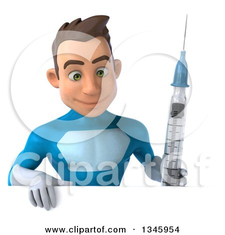 Clipart of a 3d Young White Male Super Hero in a Light Blue Suit, Holding a Vaccine Syringe and Looking down over a Sign - Royalty Free Illustration by Julos