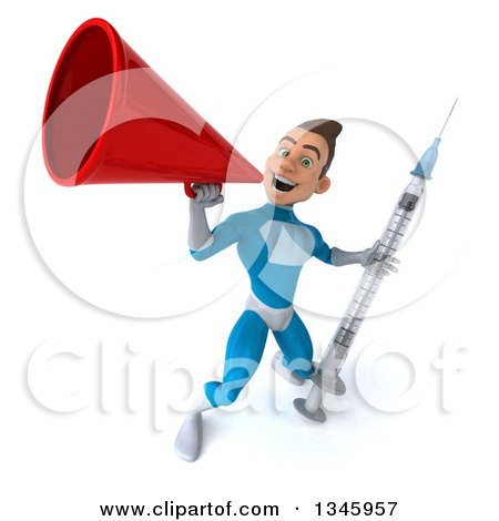 Clipart of a 3d Young White Male Super Hero in a Light Blue Suit, Holding a Vaccine Syringe and Announcing with a Megaphone - Royalty Free Illustration by Julos