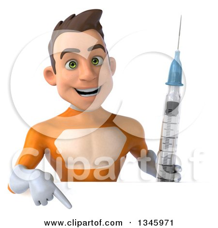 Clipart of a 3d Young Brunette White Male Super Hero in an Orange Suit, Holding a Vaccine Syringe and Pointing down over a Sign - Royalty Free Illustration by Julos