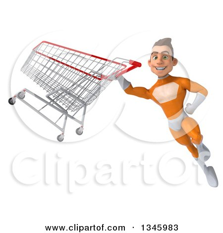 Clipart of a 3d Young Brunette White Male Super Hero in an Orange Suit, Flying with a Shopping Cart - Royalty Free Illustration by Julos