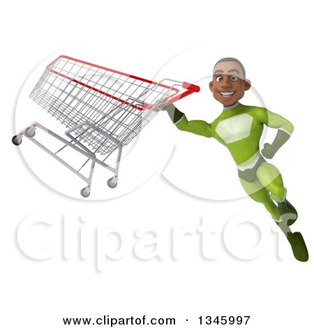 Clipart of a 3d Young Black Male Super Hero in a Green Suit, Flying with a Shopping Cart - Royalty Free Illustration by Julos