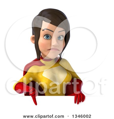 Clipart of a 3d Brunette White Female Super Hero in a Yellow and Red Suit, Giving a Thumb down over a Sign - Royalty Free Illustration by Julos