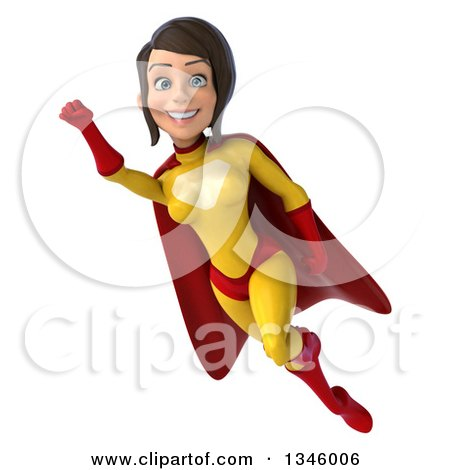 Clipart of a 3d Flying Brunette White Female Super Hero in a Yellow and Red Suit - Royalty Free Illustration by Julos
