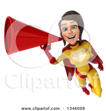 Clipart of a 3d Brunette White Female Super Hero in a Yellow and Red Suit, Flying with a Megaphone - Royalty Free Illustration by Julos