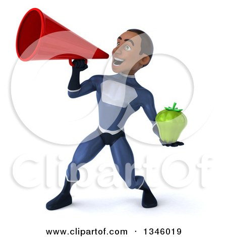 Clipart of a 3d Young Black Male Super Hero Dark Blue Suit, Holding a Green Bell Pepper and Announcing to the Left with a Megaphone - Royalty Free Illustration by Julos