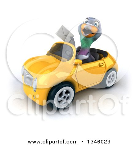 Clipart of a 3d Pigeon Holding an Envelope and Driving a Yellow Convertible Car Slightly to the Left - Royalty Free Illustration by Julos
