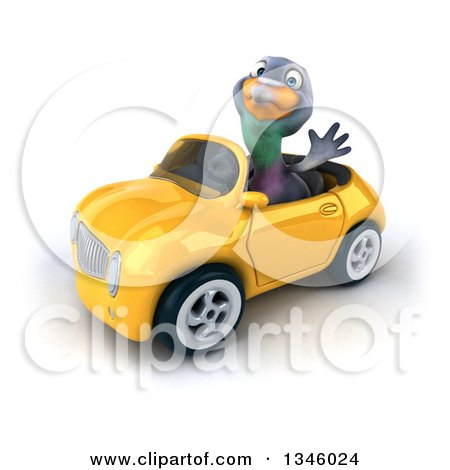 Clipart of a 3d Pigeon Waving and Driving a Yellow Convertible Car Slightly to the Left - Royalty Free Illustration by Julos