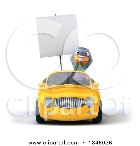 Clipart of a 3d Pigeon Holding a Blank Sign and Driving a Yellow Convertible Car - Royalty Free Illustration by Julos
