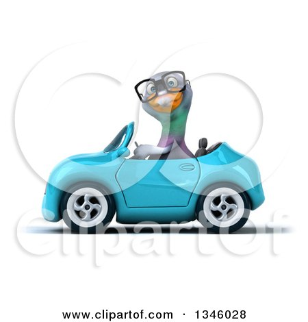 Clipart of a 3d Bespectacled Pigeon Driving a Blue Convertible Car to the Left - Royalty Free Illustration by Julos
