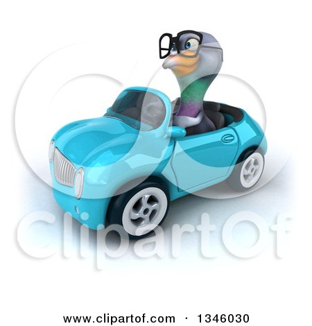 Clipart of a 3d Bespectacled Pigeon Driving a Blue Convertible Car Slightly to the Left - Royalty Free Illustration by Julos