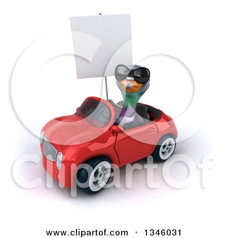 Clipart of a 3d Pigeon Wearing Sunglasses, Holding a Blank Sign and Driving a Red Convertible Car Slightly to the Left - Royalty Free Illustration by Julos