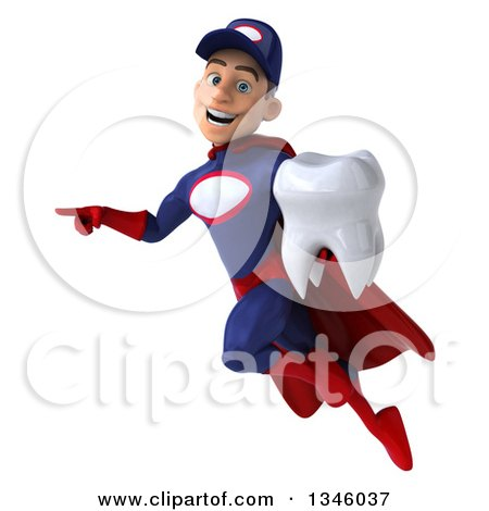 Clipart of a 3d Young White Male Super Hero Mechanic in Red and Dark Blue, Holding a Tooth, Pointing and Flying - Royalty Free Illustration by Julos