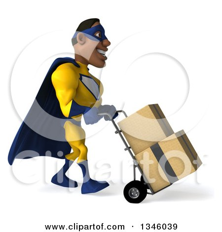 Clipart of a 3d Muscular Black Male Super Hero in a Yellow and Blue Suit, Moving Boxes on a Dolly - Royalty Free Illustration by Julos
