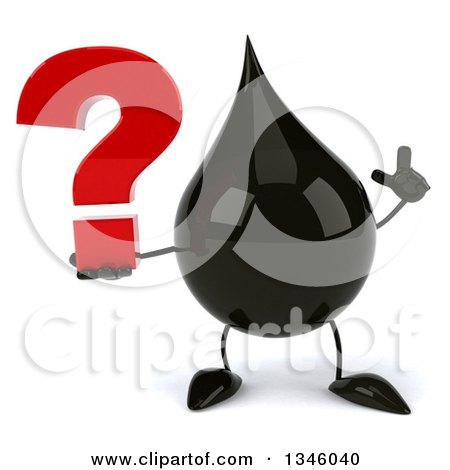 Clipart of a 3d Oil Drop Character Holding up a Finger and a Question Mark - Royalty Free Illustration by Julos