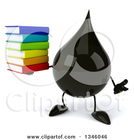 Clipart of a 3d Oil Drop Character Holding a Stack of Books and Shrugging - Royalty Free Illustration by Julos
