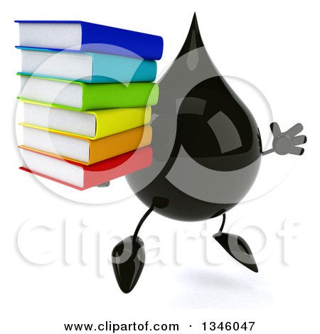 Clipart of a 3d Oil Drop Character Holding a Stack of Books and Jumping - Royalty Free Illustration by Julos