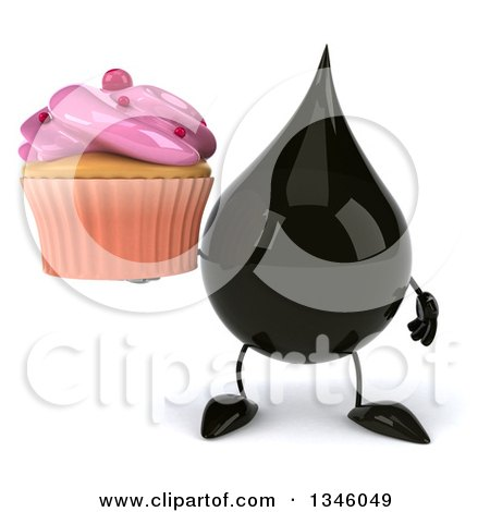 Clipart of a 3d Oil Drop Character Holding a Pink Frosted Cupcake - Royalty Free Illustration by Julos