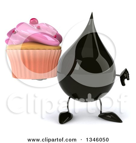 Clipart of a 3d Oil Drop Character Holding a Pink Frosted Cupcake and Giving a Thumb down - Royalty Free Illustration by Julos