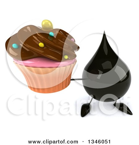 Clipart of a 3d Oil Drop Character Holding up a Chocolate Frosted Cupcake - Royalty Free Illustration by Julos