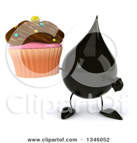 Clipart of a 3d Oil Drop Character Holding and Pointing to a Chocolate Frosted Cupcake - Royalty Free Illustration by Julos