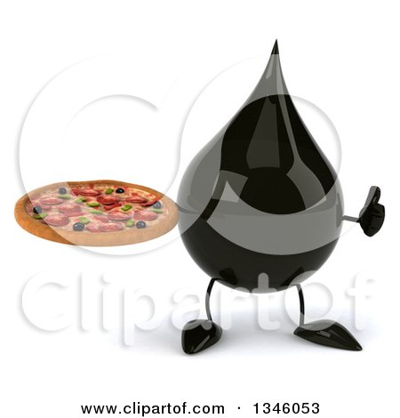 Clipart of a 3d Oil Drop Character Holding a Pizza and Giving a Thumb up - Royalty Free Illustration by Julos