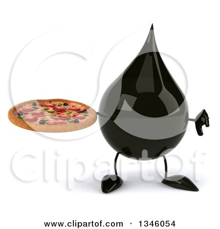 Clipart of a 3d Oil Drop Character Holding a Pizza and Giving a Thumb down - Royalty Free Illustration by Julos