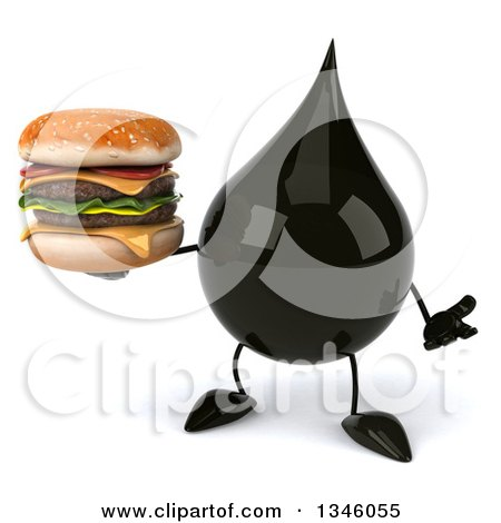 Clipart of a 3d Oil Drop Character Holding a Double Cheeseburger and Shrugging - Royalty Free Illustration by Julos