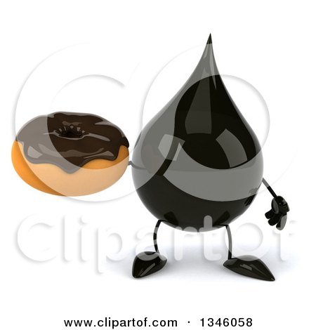 Clipart of a 3d Oil Drop Character Holding a Chocolate Glazed Donut - Royalty Free Illustration by Julos