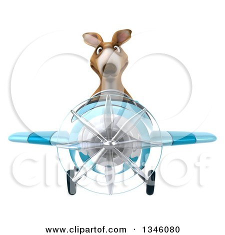 Clipart of a 3d Kangaroo Aviator Pilot Flying a Blue Airplane - Royalty Free Illustration by Julos