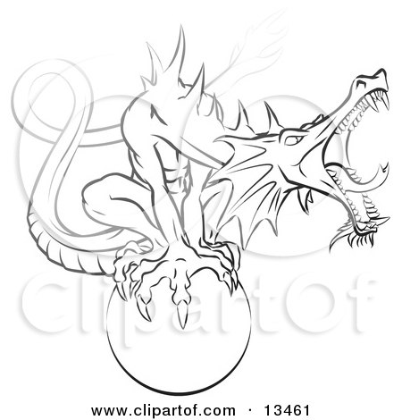 Tough Guardian Dragon Roaring While Protecting and Perching on an Orb Clipart Illustration by Leo Blanchette