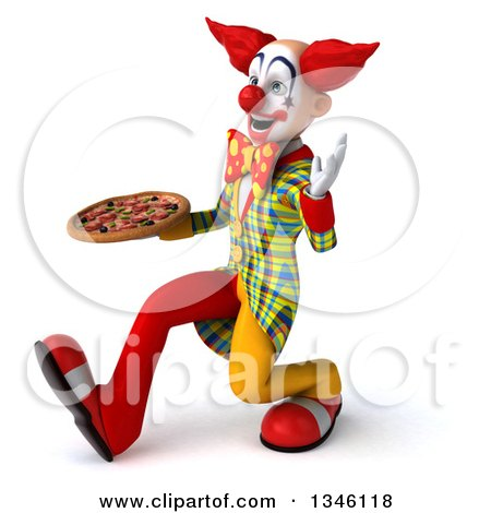 Clipart of a 3d Funky Clown Holding a Pizza, Speed Walking and Waving to the Left - Royalty Free Illustration by Julos